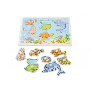 Drewniane puzzle z uchwytami zwierzęta wodne 30x23 cm
