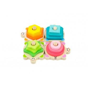 Sorter kolorowe żółwie zestaw klocki wieża kształty