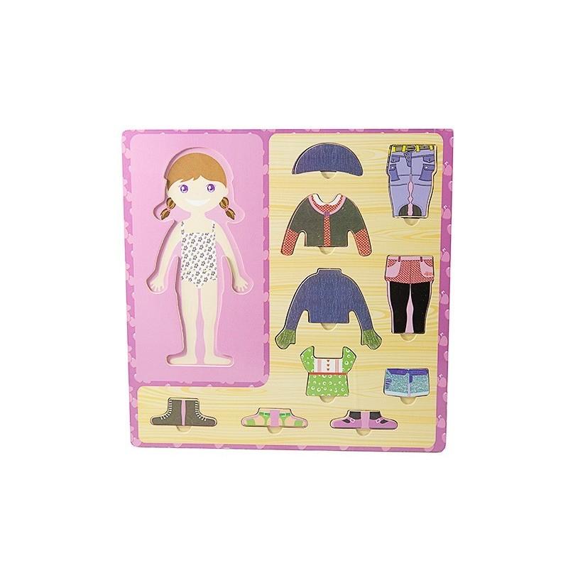 Drewniana ubieranka dziewczynka układanka ubranka