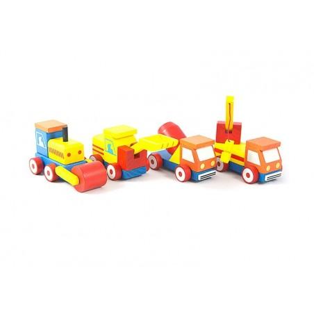 Drewniane pojazdy budowlane zestaw cztery auta