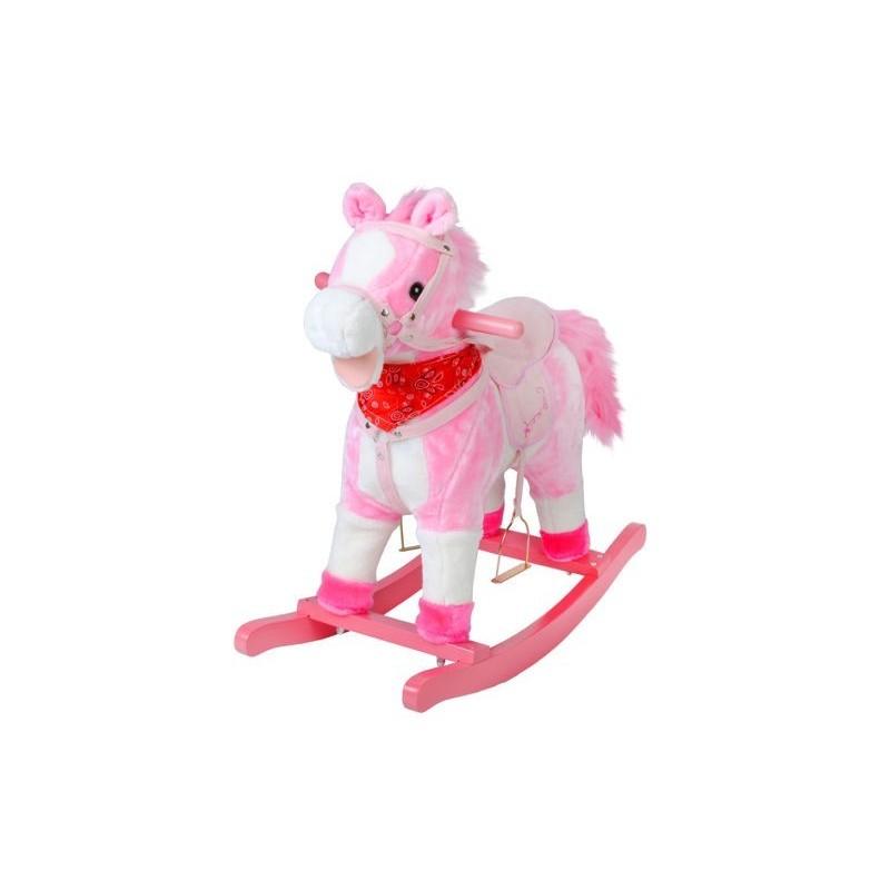 Koń na biegunach 74cm/K4593 - różowy