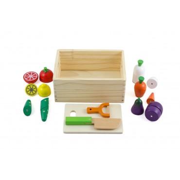 Drewniane owoce zestaw z deską i nożem Lilupi