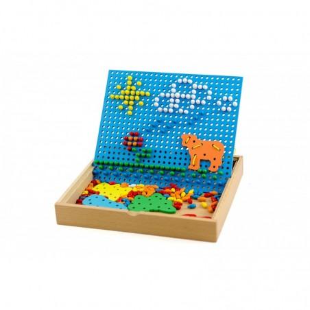 Tablica kreatywna piny grzybki Lilupi mozaika drewniana