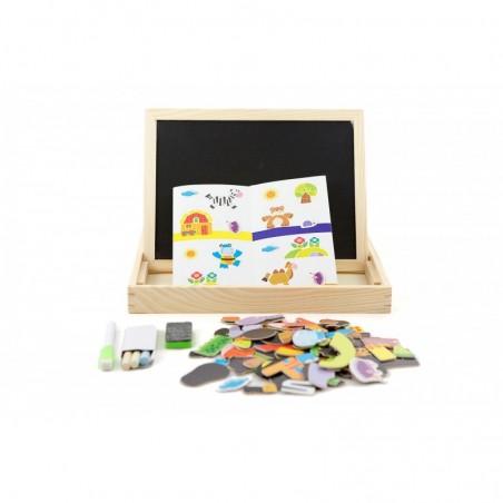 Drewniana tablica kredowo magnetyczna z puzzlami Lilupi 01a
