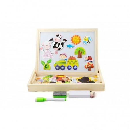 Drewniana tablica kredowo magnetyczna z puzzlami Lilupi 01b
