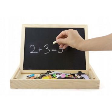 Drewniana tablica kredowo magnetyczna z puzzlami Lilupi