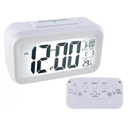 Budzik - zegar cyfrowy LED biały