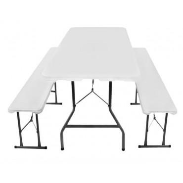 Stół ogrodowy składany 180cm + 2 ławki