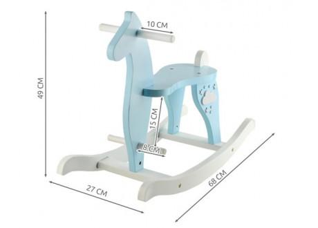 Koń na biegunach drewniany - niebieski