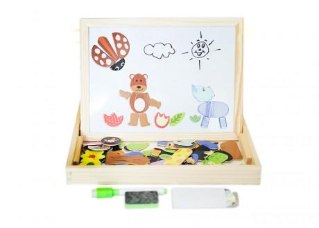 Drewniana tablica kredowo magnetyczna z puzzlami Lilupi 01j