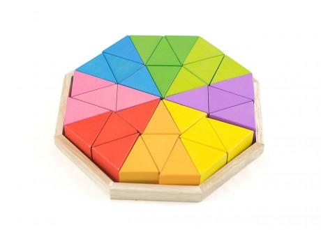 Klocki trójkąty kolorowe tęczowe Montessori