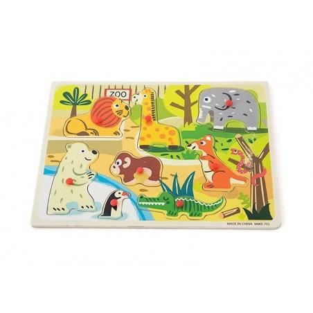 Drewniane puzzle z uchwytami zwierzęta w ZOO 30x23 cm