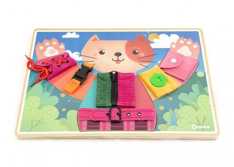 Tablica manipulacyjna zapięcia kotek Montessori