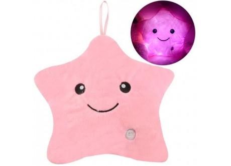 Poduszka świecąca gwiazdka LED różowa