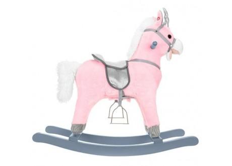 Koń na biegunach 74cm/K9337 różowo-srebrny Kruzzel