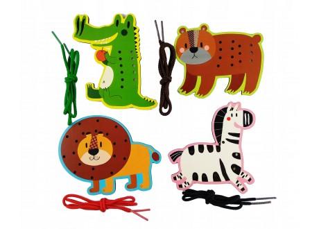 Przeplatanki zwierzęta zestaw  montessori do kreatywnej zabawy