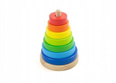 Piramida kolorowa sorter wieża układanka drewniana