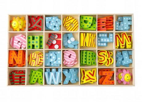 Literki ozdobne drewniane naklejane litery alfabet