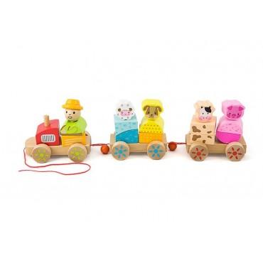 Drewniany ciągnik kolejka klocki zwierzęta