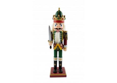 Drewniany dziadek do orzechów król z mieczem 30cm