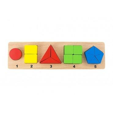 Sorter drewniana ukladanka logiczna cyfry figury