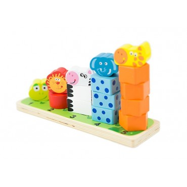 Sorter wieża zwierzęta układanka klocki drewniane